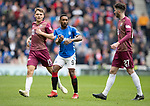 Rangers v St Johnstone…16.02.19…   Ibrox    SPFL<br />Jermaine Defoe is closely watched by Jason Kerr and Sean Goss<br />Picture by Graeme Hart. <br />Copyright Perthshire Picture Agency<br />Tel: 01738 623350  Mobile: 07990 594431