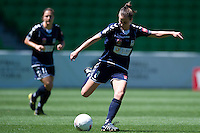 MELBOURNE, AUSTRALIA - DECEMBER 4: Ella MASTRANTONIO from Melbourne Victory kicks the ball in round 5 of the Westfield W-league match between Melbourne Victory and Brisbane Roar on 4 December 2010 at AAMI Park in Melbourne, Australia. (Photo Sydney Low / asteriskimages.com)