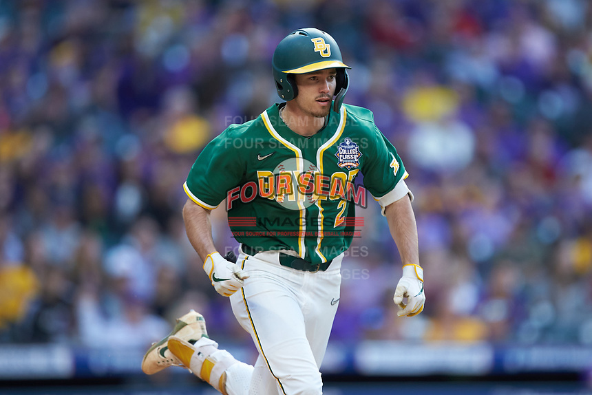 Nick Loftin (2) of the Baylor Bears hustles down the first base line against the LSU Tigers in game five of the 2020 Shriners Hospitals for Children College Classic at Minute Maid Park on February 28, 2020 in Houston, Texas. The Bears defeated the Tigers 6-4. (Brian Westerholt/Four Seam Images)