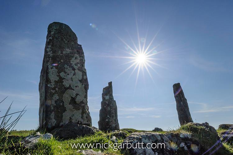 Glengor Standing Stones, Glengorm Estate, north west coast, Isle of Mull, Scotland. June