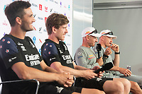 15th March 2021; Waitemata Harbour, Auckland, New Zealand;  Emirates Team New Zealand Flight Controller Blair Tuke and helmsman Peter Burling, Luna Rossa Prada Pirelli Team Hemsmen Francessco Buni and Jimmy Spithill. Post race press conference on day five of the America's Cup presented by Prada