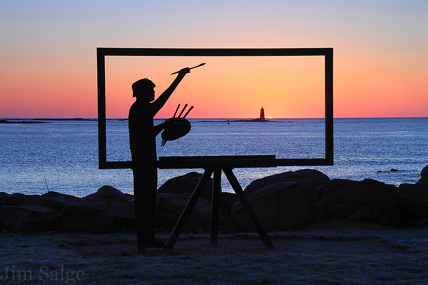 Sunrise through the sculpture at Great Island Common in New Castle, NH.  Whaleback Lighthouse can be seen through the frame.