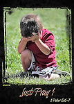 Inspirational image of a young boy kneeling down to pray