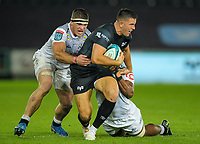 8th October 2021;  Swansea.com Stadium, Swansea, Wales; United Rugby Championship, Ospreys versus Sharks; Owen Watkin of Ospreys is tackled by James Venter and Phepsi Buthelezi of Cell C Sharks