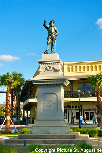 """This statue of Juan Ponce de Leon founder of Florida points toward Spain, in the old city of St. Augustine, Florida. The inscription on the statue reads """"The Discoverer of Florida, Juan Ponce de Leon landed near this spot in 1513.""""  St. Augustine is the oldest continually occupied city of European origin in the United States of America."""