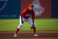 Auburn Doubledays third baseman Kelvin Gutierrez (5) during a game against the State College Spikes on July 6, 2015 at Falcon Park in Auburn, New York.  State College defeated Auburn 9-7.  (Mike Janes/Four Seam Images)