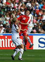 Myong Hwa Jon (PRK) heads the ball..FIFA U17 Women's World Cup Final, USA v Korea DPR, Albany Stadium, Auckland, New Zealand, Sunday 16 November 2008. Photo: Renee McKay/PHOTOSPORT