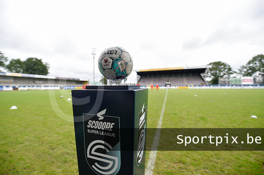 illustration picture of the matchball in the Forestierstadion  pictured during a female soccer game between SV Zulte - Waregem and Club Brugge YLA on the fourth matchday of the 2021 - 2022 season of the Belgian Scooore Womens Super League , saturday 11 of September 2021  in Harelbeke , Belgium . PHOTO SPORTPIX | DIRK VUYLSTEKE