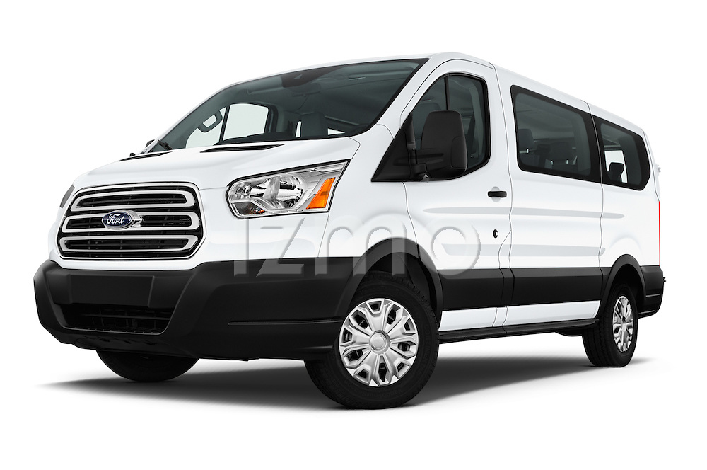 Stock pictures of low aggressive front three quarter view of 2016 Ford Transit 150-XLT-Low-Roof 4 Door Passenger Van Low Aggressive