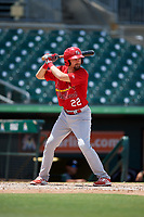Palm Beach Cardinals second baseman Stefan Trosclair (22) at bat during a game against the Jupiter Hammerheads on August 5, 2018 at Roger Dean Chevrolet Stadium in Jupiter, Florida.  Jupiter defeated Palm Beach 3-0.  (Mike Janes/Four Seam Images)