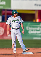 20 August 2017: Vermont Lake Monsters infielder Hunter Hargrove, a 25th round draft pick for the Oakland Athletics, stands safe on second during game action against the Connecticut Tigers at Centennial Field in Burlington, Vermont. The Lake Monsters rallied to edge out the Tigers 6-5 in 13 innings of NY Penn League action.  Mandatory Credit: Ed Wolfstein Photo *** RAW (NEF) Image File Available ***