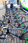 Orica GreenEdge team Scott bikes lined up outside the team bus at sign on before the start of the 113th edition of the Paris-Roubaix 2015 cycle race held over the cobbled roads of Northern France. 12th April 2015.<br /> Photo: Eoin Clarke www.newsfile.ie
