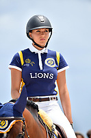 MIAMI BEACH, FL - APRIL 15: Anna Kellnerova at the Longines Global Champions Tour stop in Miami Beach - Global Champions League Final - Class 13: Miami Beach 2017 CSI5* 1.55/1.60m. The winner was Kent Farrington (USA), second place was Martin Fuchs (CH)  and third place was Lauren Hough (USA). Also riding but did not make the finals was Georgina Bloomberg, Jessica Rae Springsteen and Jennifer Gates on April 15, 2017 in Miami Beach, Florida.<br /> <br /> People:  Anna Kellnerova