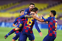 Clement Lenglet of Barcelona celebrates with team mates Lionel Messi and Luis Suarez after scoring the goal of 1-0 during the Champions League round of 16 second leg football match between Barcelona and SSC Napoli at Camp Nou in Barcelona (Spain), August 8th, 2020. <br /> Photo UEFA / Press Office / Insidefoto