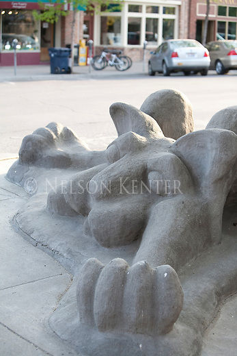 The concrete cat sculpture at the downtown parking garage in Missoula, Montana