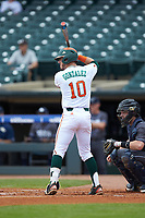 Romy Gonzalez (10) of the Miami Hurricanes at bat against the Georgia Tech Yellow Jackets during game one of the 2017 ACC Baseball Championship at Louisville Slugger Field on May 23, 2017 in Louisville, Kentucky. The Hurricanes walked-off the Yellow Jackets 6-5 in 13 innings. (Brian Westerholt/Four Seam Images)