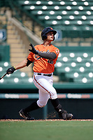 Baltimore Orioles Juan Escarra (46) hits a home run during an Instructional League game against the Tampa Bay Rays on October 2, 2017 at Ed Smith Stadium in Sarasota, Florida.  (Mike Janes/Four Seam Images)