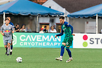 HARTFORD, CT - JULY 10: Arthur Rogers #6 of Hartford Athletic passes the ball during a game between New York Red Bulls II and Hartford Athletics at Dillon Stadium on July 10, 2021 in Hartford, Connecticut.