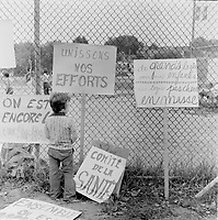 demonstration in a park about affordable housing<br /> in Hull or Ottawa  , circa 1975