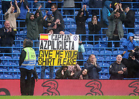 The banners are getting larger as a Chelsea fan tries to obtain Cesar Azpilicueta's shirt at the final whistle during Chelsea vs Southampton, Premier League Football at Stamford Bridge on 2nd October 2021