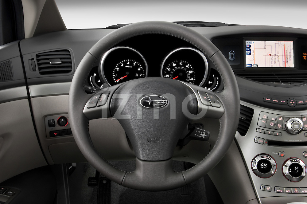 Steering wheel view of a 2008 Subaru Tribeca SUV