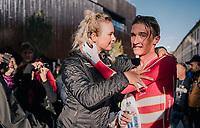 Mikkel Bjerg (DEN) celebrating his 2nd consecutive U23 TT title straight after finishing<br /> <br /> MEN UNDER 23 INDIVIDUAL TIME TRIAL<br /> Hall-Wattens to Innsbruck: 27.8 km<br /> <br /> UCI 2018 Road World Championships<br /> Innsbruck - Tirol / Austria