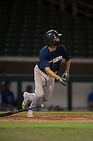 AZL Brewers third baseman Jess Williams (14) starts down the first base line during an Arizona League game against the AZL Cubs 1 at Sloan Park on June 29, 2018 in Mesa, Arizona. The AZL Cubs 1 defeated the AZL Brewers 7-1. (Zachary Lucy/Four Seam Images)
