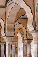 Jaipur, Rajasthan, India.  Visually Overlapping and Interlocking Arches in the Hall of Private Audiences, Amber (or Amer) Palace, near Jaipur.