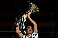 Cristiano Ronaldo of Juventus celebrates the victory of the italian championship at the end of the Serie A football match between Juventus FC and AS Roma at Juventus stadium in Turin (Italy), August 1st, 2020. AS Roma won 3-1 over Juventus. Juventus has won its ninth consecutive italian championship. Photo Andrea Staccioli / Insidefoto