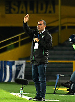 BOGOTA - COLOMBIA - 09 – 05 - 2017: Jaime de la Pava, técnico, de Cortulua, durante partido de la fecha 17 entre Millonarios y Cortulua, por la Liga Aguila I-2017, jugado en el estadio Nemesio Camacho El Campin de la ciudad de Bogota. / Jaime de la Pava, coach of Cortulua,  during a match of the date 17th between Millonarios and Cortulua, for the Liga Aguila I-2017 played at the Nemesio Camacho El Campin Stadium in Bogota city, Photo: VizzorImage / Luis Ramirez / Staff.