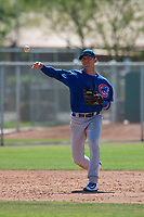 Chicago Cubs third baseman Ramsey Romano (17) during a Minor League Spring Training game against the Oakland Athletics at Sloan Park on March 19, 2018 in Mesa, Arizona. (Zachary Lucy/Four Seam Images)