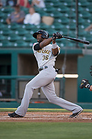 Salt Lake Bees designated hitter Jabari Blash (36) follows through on his swing during a Pacific Coast League game against the Fresno Grizzlies at Chukchansi Park on May 14, 2018 in Fresno, California. Fresno defeated Salt Lake 4-3. (Zachary Lucy/Four Seam Images)