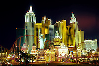 Las Vegas, NV, New York-New York, casino, Nevada, The Strip, New York-New York Hotel & Casino at night on The Strip in Las Vegas, the Entertainment Capital of the World.