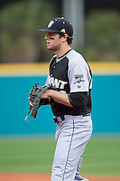 Bryant Bulldogs first baseman Robby Rinn (25) on defense against the Coastal Carolina Chanticleers at Springs Brooks Stadium on March 13, 2015 in Charlotte, North Carolina.  The Chanticleers defeated the Bulldogs 7-2.  (Brian Westerholt/Four Seam Images)