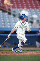 Hartford Yard Goats first baseman Ryan McMahon (13) at bat during the second game of a doubleheader against the Trenton Thunder on June 1, 2016 at Sen. Thomas J. Dodd Memorial Stadium in Norwich, Connecticut.  Trenton defeated Hartford 2-1.  (Mike Janes/Four Seam Images)