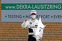 23rd August 2020, Lausitz Circuit, Klettwitz, Brandenburg, Germany. The Deutsche Tourenwagen Masters (DTM) race at Lausitz;  Lucas Auer AUT BMW Team RMR celebrates his victory in the DTM race at the Lausitzring