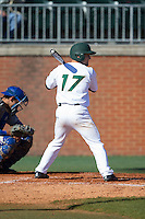 Danny Raley (17) of the Charlotte 49ers at bat against the Louisiana Tech Bulldogs at Hayes Stadium on March 28, 2015 in Charlotte, North Carolina.  The 49ers defeated the Bulldogs 9-5 in game two of a double header.  (Brian Westerholt/Four Seam Images)
