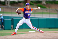 Sophomore pitcher Charlie Barnes (23) of the Clemson Tigers in a fall practice intra-squad Orange-Purple scrimmage on Saturday, September 26, 2015, at Doug Kingsmore Stadium in Clemson, South Carolina. (Tom Priddy/Four Seam Images)