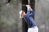 WALLACE, NC - MARCH 09: Tereza Melecka of East Tennessee State University tees off on the 17th hole of the River Course at River Landing Country Club on March 09, 2020 in Wallace, North Carolina.