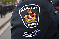 Chatham-Kent Police badge is seen during a police memorial parade in Ottawa Sunday September 26, 2010.