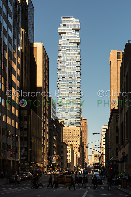 """A view of """"56 Leonard"""", a luxury residential tower in the TriBeCa area of New York City."""