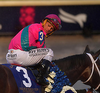 HALLANDALE BEACH, FL - JANUARY 26: Jockey Javier Castellano riding City of Light wins the third running of the Pegasus World Cup Invitational, The World's Richest Thoroughbred Horse Race held at Gulfstream Park on January 26, 2019 in Hallandale Beach, Florida.<br /> <br /> People:  Javier Castellano, City of Light