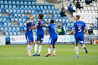 Luke Norris congratulates Miles Welch-Hayes following his goal which restored the lead during Colchester United vs Oldham Athletic, Sky Bet EFL League 2 Football at the JobServe Community Stadium on 3rd October 2020