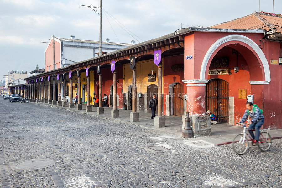 Antigua, Guatemala.  Shops on the West Side of the Plaza de Armas, Early Morning.