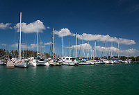 Sailboats, Boca Chica Marina, Florida Keys, FL, America, USA.