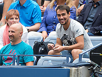 Flavia Pennetta team Fabio Fognini Friend from Flavia in the Loge player Tennis U.S. Open 2015 Grand Slam ITF ATP Tennis men WTA Tennis women Flushing Meadows New York New York USA 12 September 2015 Juergen Hasenkopf <br /> Flushing Meadows 12/9/2015 <br /> Tennis US Open Finale donne tra Flavia Pennetta e Roberta Vinci <br /> Flavia Pennetta vince gli US Open <br /> Foto Imago / Insidefoto<br /> ITALY ONLY
