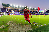 ORLANDO, FL - FEBRUARY 21: Janine Beckie #16 of Canada takes a corner kick during a game between Canada and Argentina at Exploria Stadium on February 21, 2021 in Orlando, Florida.