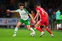 Callum O'Dowda of Republic of Ireland battles with Connor Roberts of Wales during the UEFA Nations League B match between Wales and Ireland at Cardiff City Stadium in Cardiff, Wales, UK.September 6, 2018