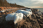 Ice-capped rocks along the western shoreline of the Schoodic Peninsula in Acadia National Park, Maine, USA