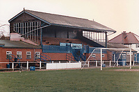 Main stand at Moor Green Football Club, The Moorlands, Sherwood Road, Hall Green, Birmingham pictured on 30th January 1988